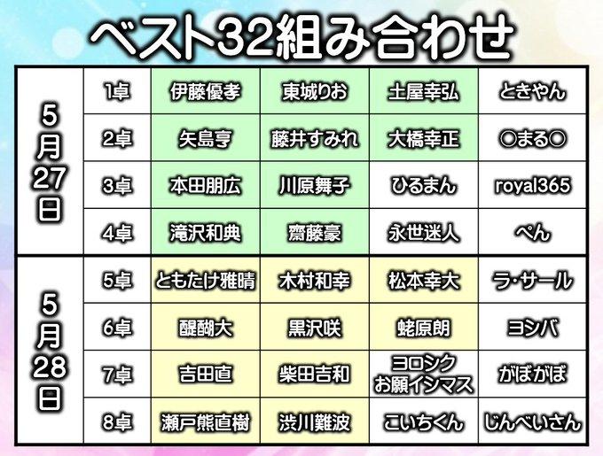 【日本プロ麻雀連盟】【インターネット麻雀日本選手権ベスト32】卓組決定!
