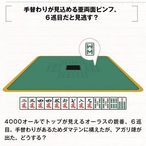 1)本文53ページよりサンプル問題を掲載。 手替わりする前に出たアガリ牌、見逃しますか?