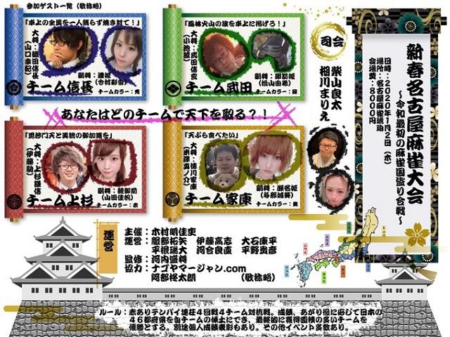 [新春名古屋麻雀大会] 4チームに分かれた4半荘麻雀国取り合戦! 2020/01/02(木) 会場:名古屋琥珀